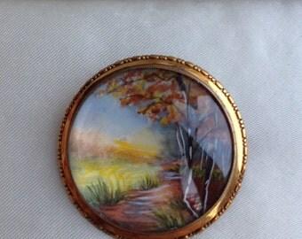 Vintage Art Deco Thomas L Mott TLM Autumn Landscape Brooch