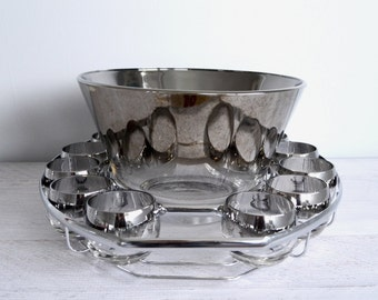 Vintage Barware Set, Silver Ombre Punch Bowl, Roly Poly Glasses, Caddy, Mad Men Bar Cocktail Caddy, 1960s