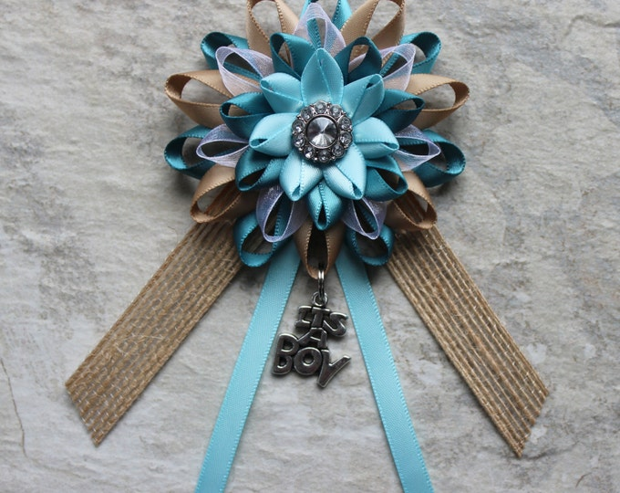 Rustic Baby Shower Decorations, Rustic Baby Boy Shower, Rustic Baby Shower Decor, Blue, Teal, Burlap Baby Shower Pin, Rustic Corsage