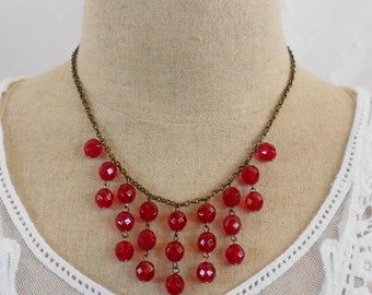 Ruby Red Necklace, Bib Statement Necklace, Art Deco Necklace, Drop Necklace, Beaded Necklace, Red Glass Necklace, Red Crystal Necklace