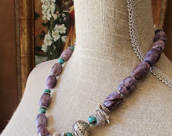 Handcrafted Artisan Amethyst Pearl Turquoise Women's Necklace