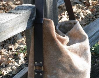 Natural Cowhide Hobo Purse - Cross Body Purse - Leather cross body Purse - Cowhide purse