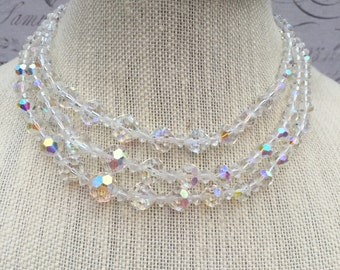 Vintage Multistrand Aurora Borealis Glass Crystal Necklace, AB Crystal Bead Necklace, Estate Jewelry
