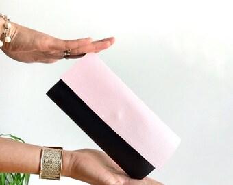 Blush pink cash envelope wallet, vegan wallet women, ladies wallet, womens credit card holder, minimalist wallet women, handmade wallet