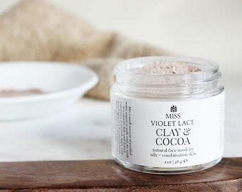 Clay Mask | For Oily and Combination Skin | 100% natural and vegan | Clay & Cocoa