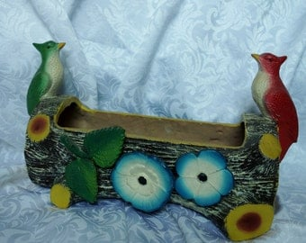 Mid century kitschy log planter with birds