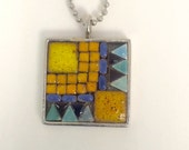 Southwestern Mosaic Necklace Yellow Turquoise  with Chain