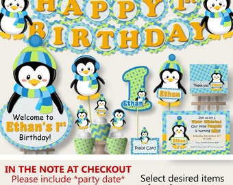 Penguin Party for Baby Shower or Birthday Party Decorations -Party Package, Banner, Penguin Cake Topper, Cupcake, blue and green