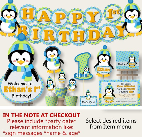 Winter Onederland Penguin Birthday Party BANNER Or Penguin Baby Shower  Decorations   Cake Topper, Invitations, Banner, Cupcake, Blue And G