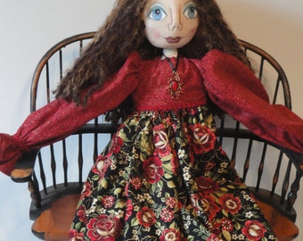OOAK art doll, cloth art doll in red and black, hand made fiber art doll, by Morning Mist Designs