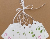 6 Flower and Heart Theme Gift Tags, Heavy Card Stock, Hand Stamped & Embossed, Crochet Thread for Tie