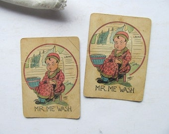 Vintage Old Maid MR ME WASH Card Game Playing Cards Original Pair Signed Phil Toy Game Pieces Playing Deck of Cards Laundry Wash Day Bucket