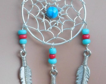 Dream catcher necklace & earrings, dream catcher pendant, dream catcher, dream catcher jewelry, dreamcatcher with feathers and turquoise