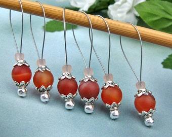 Knitting Stitch Markers, Orange Carnelian, Semi-Precious Stones, Large Size, Snag Free, Knitting Tool, Knitting Accessory, Knitters Gift