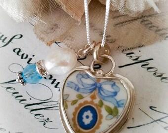 Blue Ribbon Bow Broken China Jewelry  Petite Pendant Charm Necklace