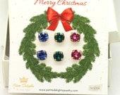 Christmas Gift For Her,Christmas Present,Swarovski Earrings Set,Crystal Trio Earrings Set,Sapphire Stud Earrings,Pink Studs,Emerald Studs