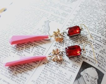 Pink and Red Crystal Earrings, Pink Red Statement Earrings, Pink Red Crystal Jewelry, Crystal Rhinestone Earrings, Gifts for Her