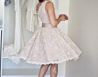 One Shoulder Lace Dress, Bridesmaid Lace Dress, Boho Bridesmaid Dresses, Short lace dress