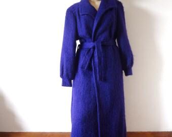 1980s Mohair Coat - fuzzy purple wool wrap jacket