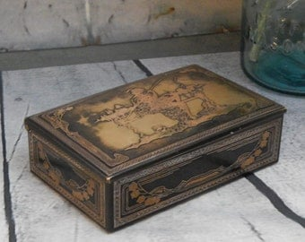 RARE Antique GREEK Fisherman~ VENETIAN Brass Box With Copper accents ~Wooden Lined ~Trinket Box Small Jewelry Box