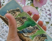Baby Bluebirds Bookmark - Original Handpainted Watercolor