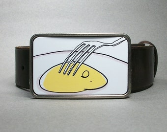 Fried Egg Belt Buckle Over Easy Breakfast Gift for Men or Women