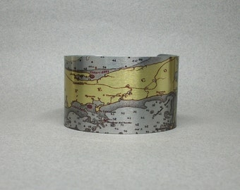 Cape Cod Massachusetts Nautical Map Cuff Bracelet Unique Gift