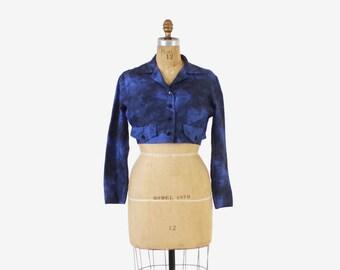 Vintage 50s BOLERO / 1950s Jonathan Logan Novelty CASTLE Print Silk Cropped Jacket S