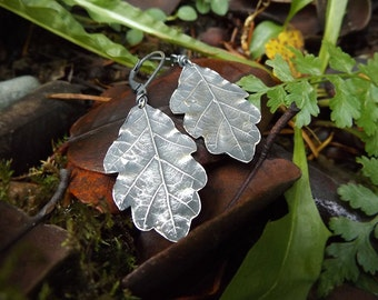 Quercus - Oak Leaf -Oxidized Fine Silver Leaf Earrings  by Quintessential Arts