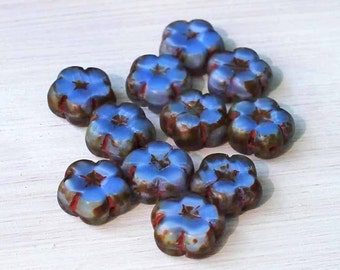 6 Czech Glass Beads 10mm Flower Blue Tones - CB49