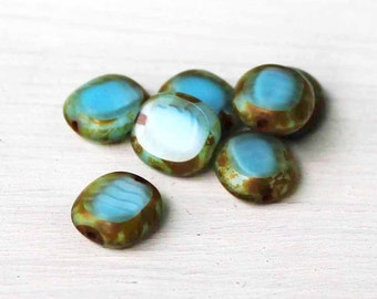 5 Czech Glass Beads 10mm x 9mm Turquoise and Brown - CB085