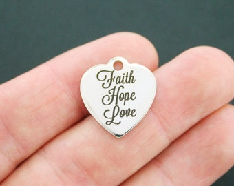 Faith Hope Love Charm Polished Stainless Steel - Exclusive Line - Quantity Options  - BFS680