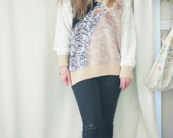 granny chic warm winter sweater, medium-large
