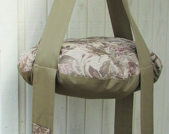 Cat Bed Tan Floral & Khaki Double Cat Bed, Kitty Cloud, Hanging Cat Bed, Pet Furniture, Gift