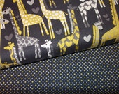 Michael Miller - Giraffe Love and Dot Duo in Citron and Gray - 2 half yard cuts