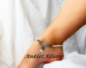 Beach Anklet Sand Dollar Anklet Cruise Ankle Bracelet Blue Crystal Jewelry