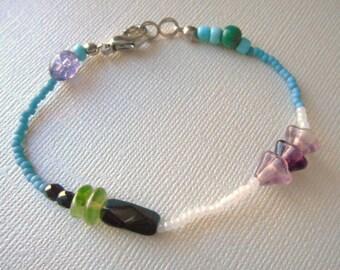 Sale Beaded Flower Bracelet blue seed bead bracelet asymmetrical design Czech beads Boho jewelry by  PeaceStitchStudio