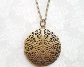 Locket Necklace Gold Brass Filigree Locket Round Vintage Style Pendant Picture Locket Romantic Long Chain Necklace Secret Hiding Place