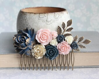 Navy Rose Hair Comb Big Floral Hair Piece Blush Pink and Gold Wedding Floral Bridal Hair Comb Vintage Style Flowers for Hair Something Blue