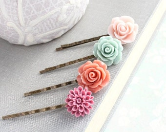 Flower Bobby Pins Floral Hair Accessories Pink Hair Pin Sage Aqua Hair Clip Dusty Plum Chrysanthemum Coral Rose Bobbies Colorful Wedding