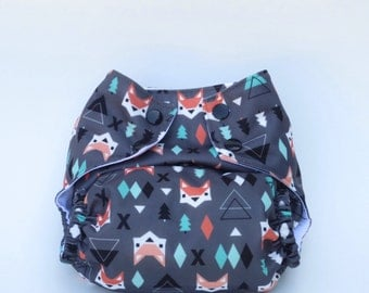 All-in-One Cloth Diaper  Aztec Fox