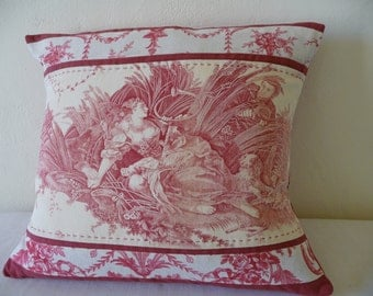 Antique French fabric pillow 19thc hand quilted pillow  accent pillow.antique french fabric