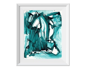 Fine Art Print, Abstract Waterfall Painting, Nature Painting, Original Abstract Painting, Blue Teal Painting, Line Painting, Water, GICLEE