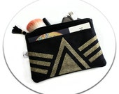Black Vegan Suede Leather Clutch Bag & Gold Glitters Pyramide Triangle Tassel