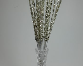 Vintage Mercury Glass Bead Picks Spears Sprays Silver Faceted Teardrop Shape