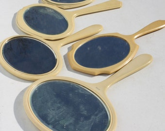 Vintage Hand Mirrors Celluloid Mirror Vanity Mirror Collection Lot Decorative Wall Decor Yellow Celluloid 5 Pieces