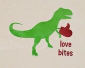 Boy Girl Valentines Shirt T Rex trex Heart Dinosaur Valentine Love Bites Red Hearts Vday Shirt -- YOUTH sizes