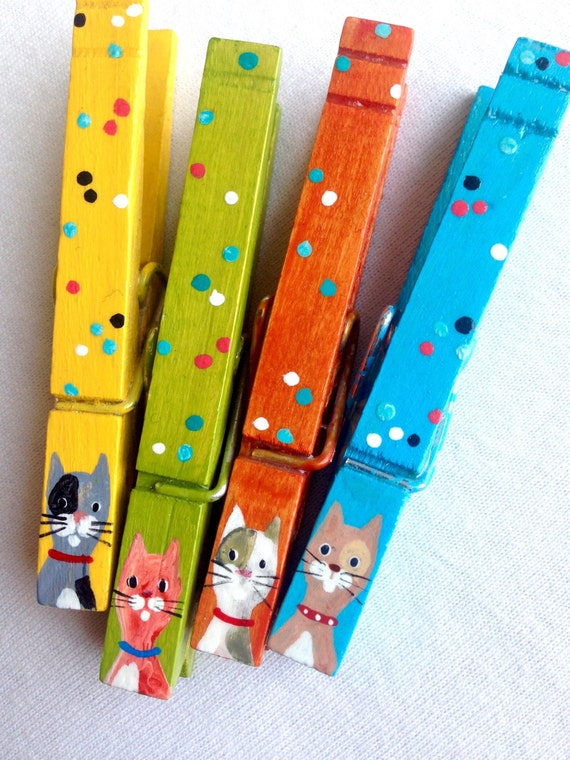 CAT CLOTHESPINS orange blue yellow green hand painted magnets
