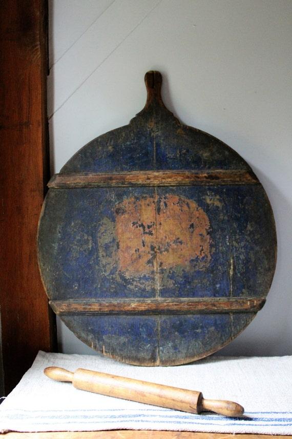 19c Antique Blue Round Bread Board Breadboard Dough Board