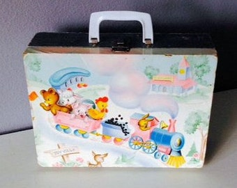 Childs Overnight Suitcase, Mid Century Nursery Rhyme, Wood and Paper